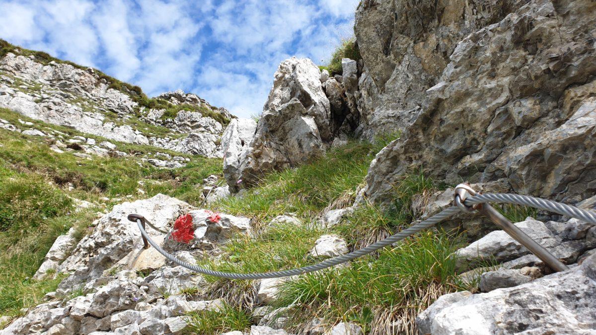Der mit Seil gesicherte Steig unterhalb des Schafreuter